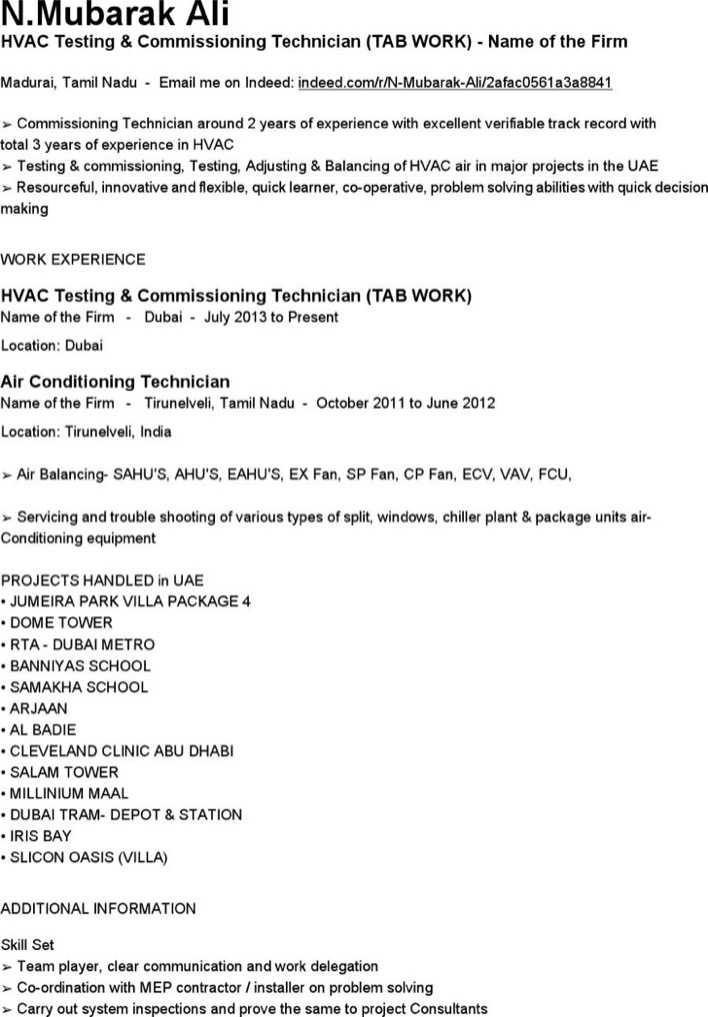download hvac testing commissioning technician resume free pdf for free