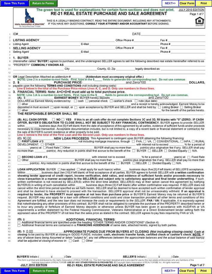 Download Idaho Real Estate Purchase and Sale Agreement Form