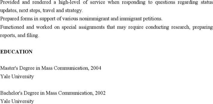 Immigration Paralegal Resume Page 2