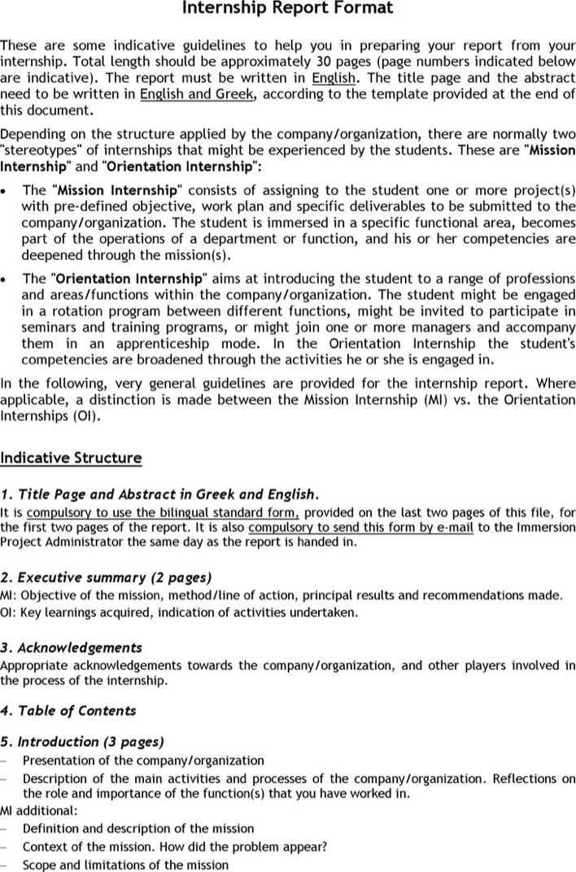 Download Internship Report Format for Free - TidyTemplates