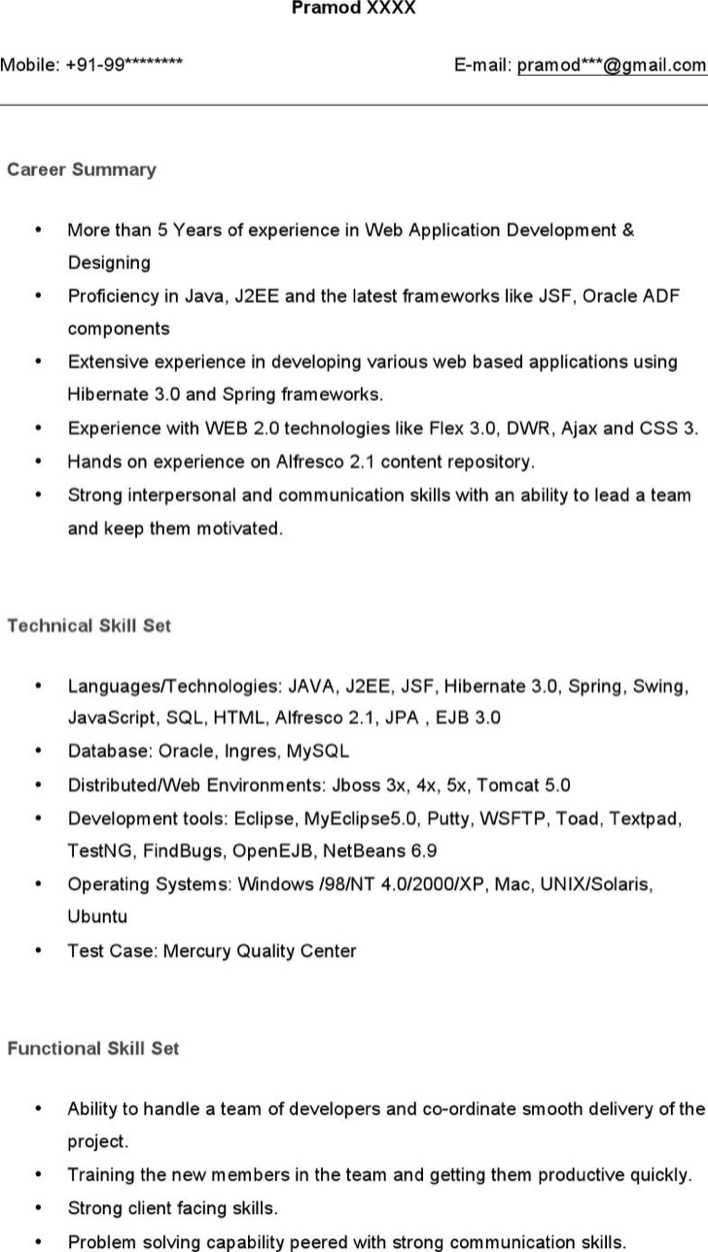 Download Java Developer Resume Example for Free - TidyTemplates