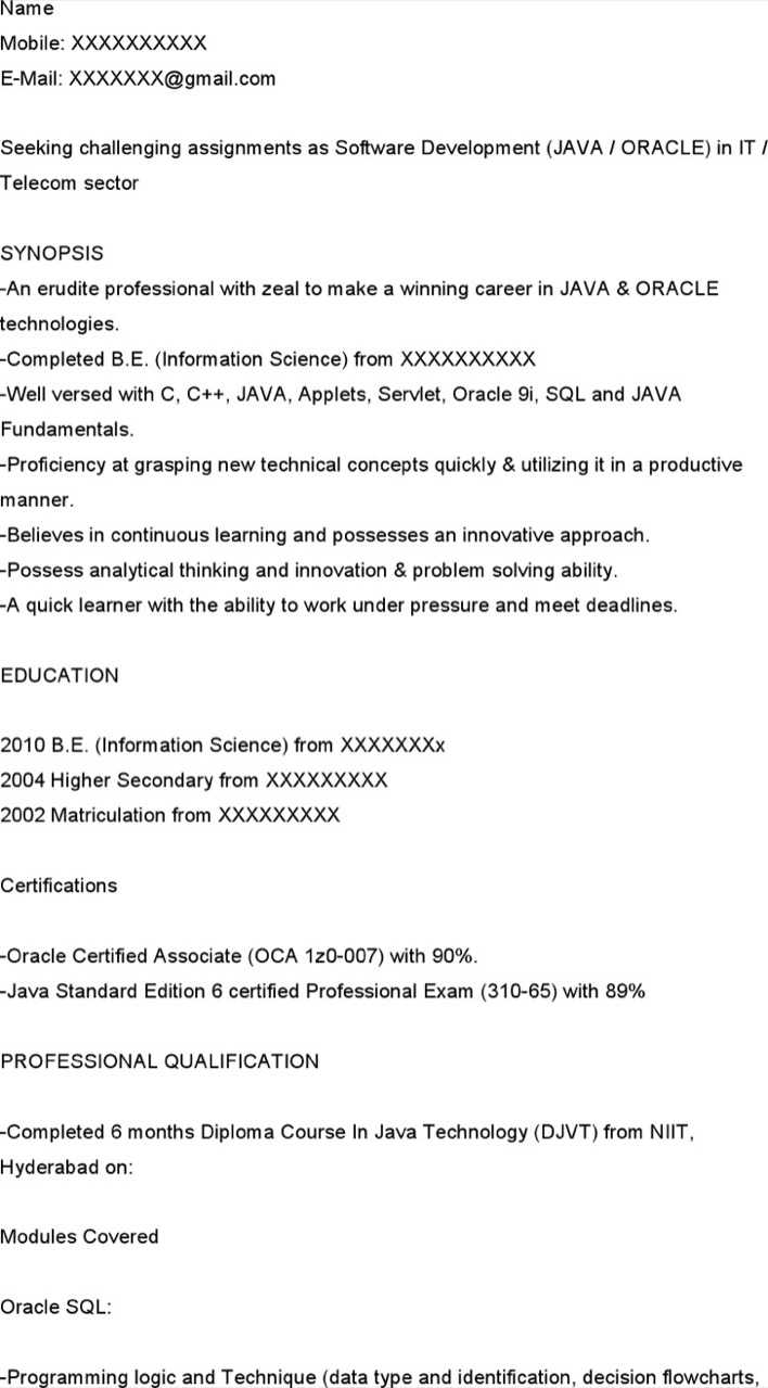 Java Developer Resume For Fresher Page 1