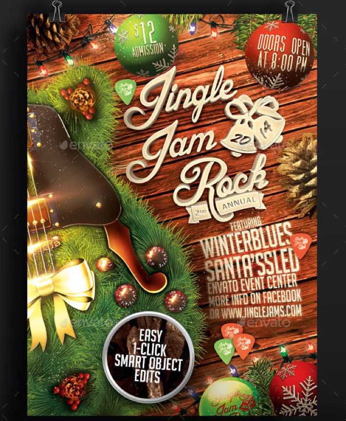 Jingle Jam Rock Christmas Flyer Template PSD Design Page 1