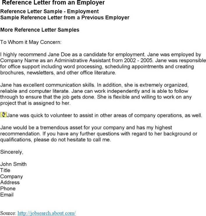 Download Job Reference Letter From Employer For Free Tidytemplates