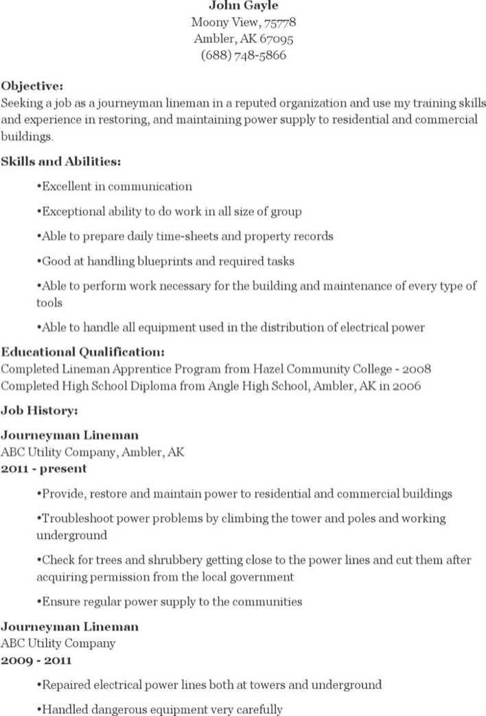 download journeyman lineman resume for free
