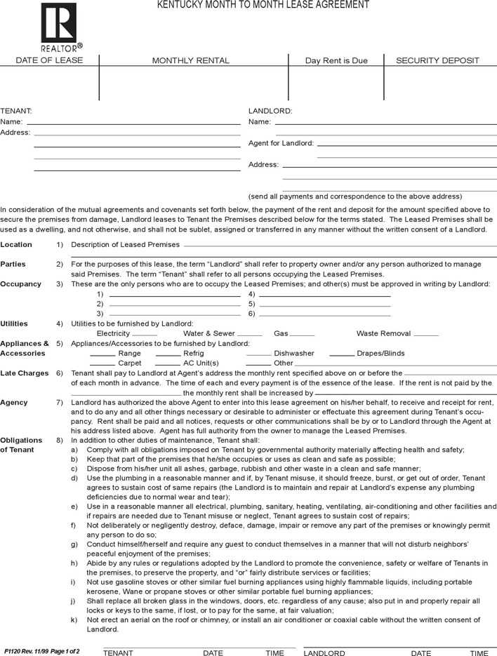 Download Kentucky Month To Month Rental Agreement For Free