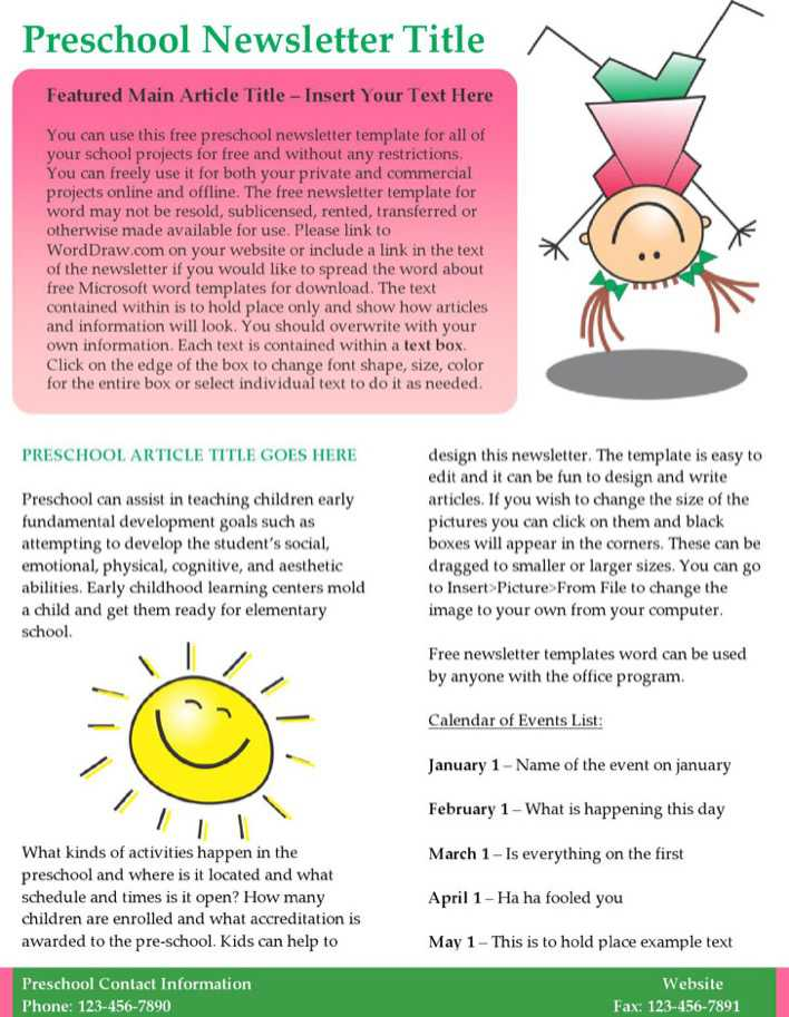 kids preschool newsletter template word format page 1
