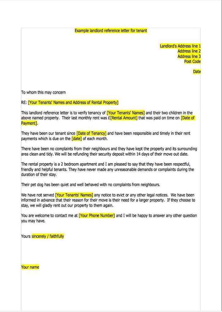 reference letter for tenant