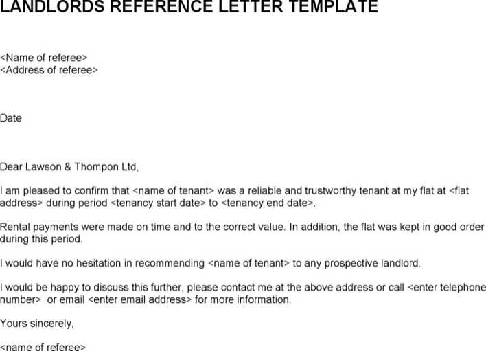 Download Landlords Reference Letter Template For Free Tidytemplates