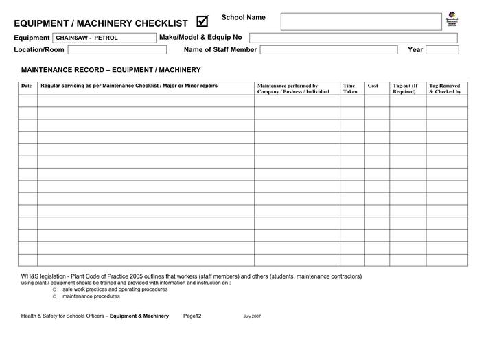 Machine Maintenance Schedule Template Free Download Page 1