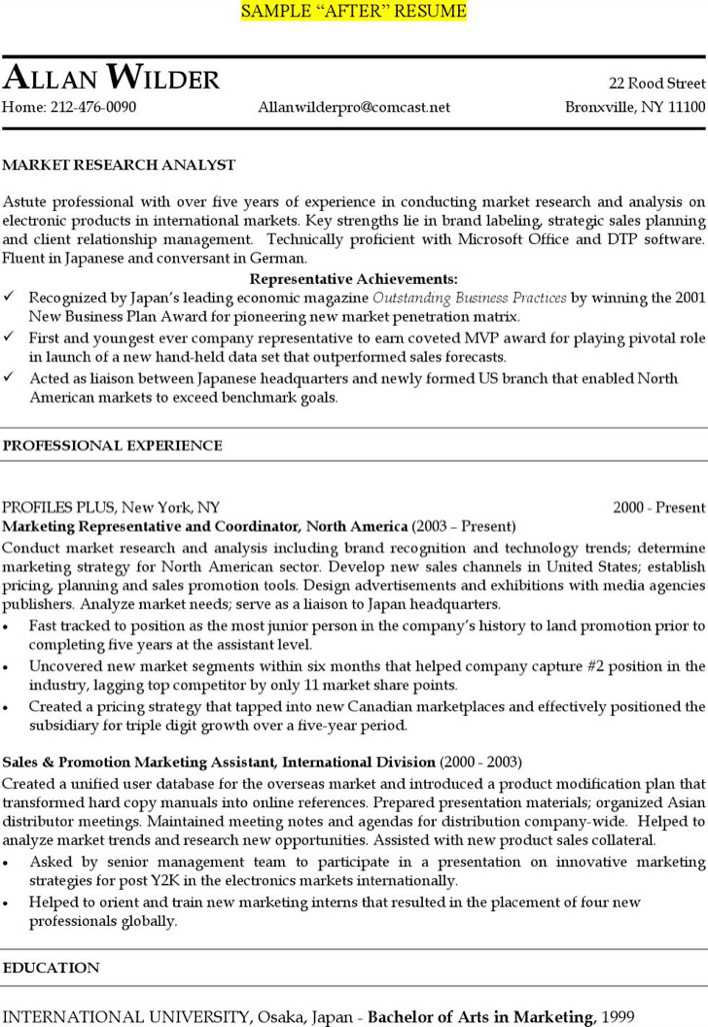 market research analyst resumes