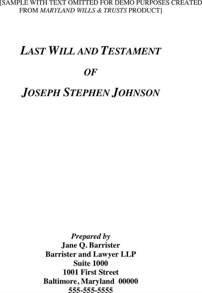 Download maryland last will and testament sample for free for Maryland will template
