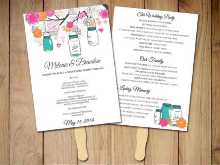 Mason Jar Simple Wedding Program Template Page 1