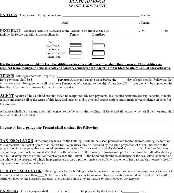 Download Massachusetts Monthly Rental Agreement For Free Tidytemplates