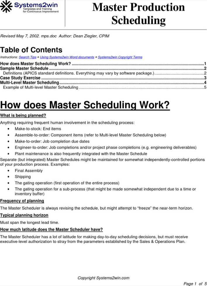 Download Master Production Schedule Template For Free Tidytemplates