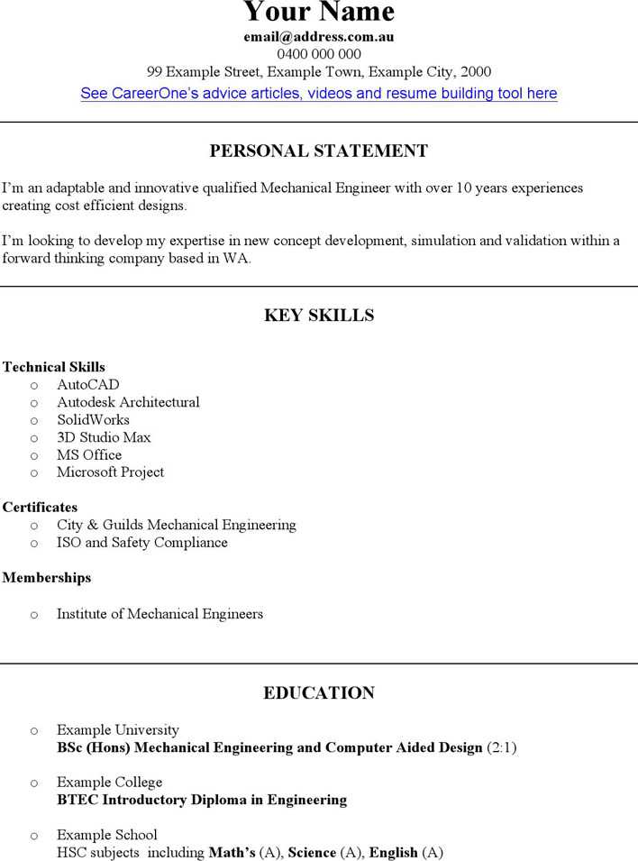 Download Mechanical Engineer Cv Template For Free Tidytemplates