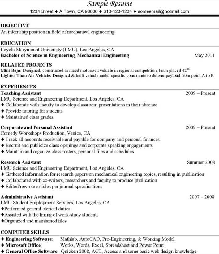 Download Mechanical Engineering Resume For Experience for