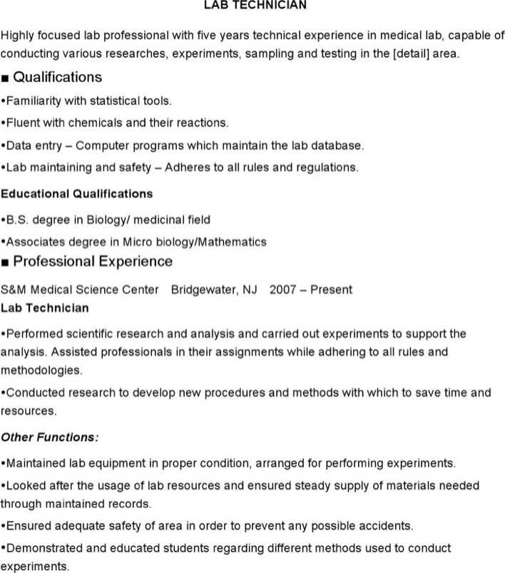 download medical lab technician resume for free