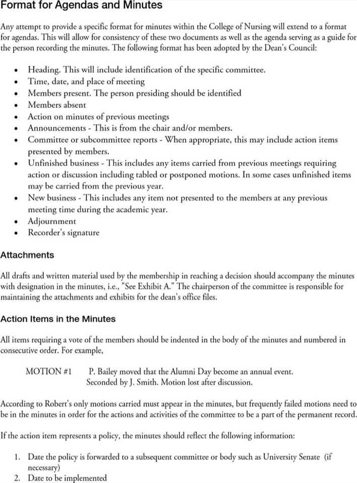 meeting agenda minute writing template page 1