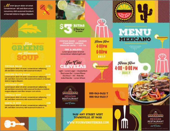 download mexican restaurant take out brochure template for free tidytemplates. Black Bedroom Furniture Sets. Home Design Ideas