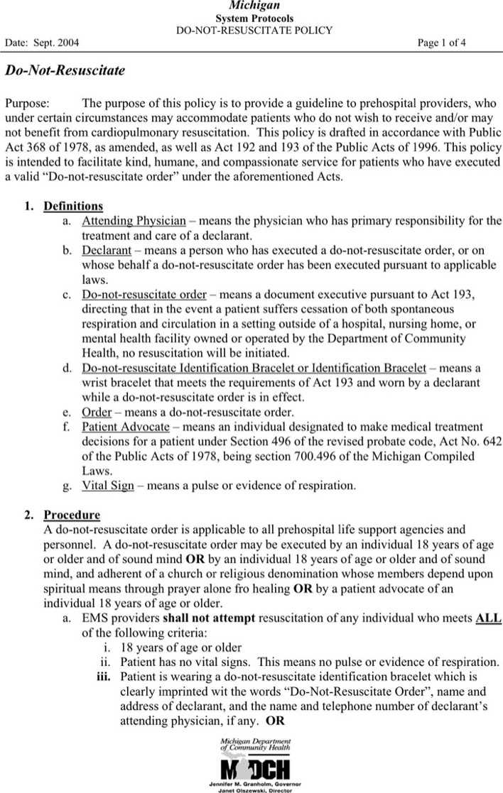 Download Michigan Do Not Resuscitate Form 1 For Free