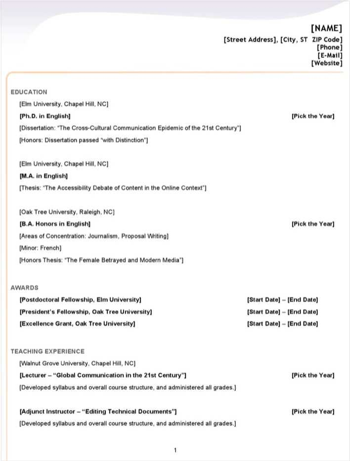 Download Microsoft Word 2007 Resume Template for Free ...