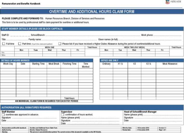 Microsoft Word 2010 Overtime Sheet Template Download Page 1