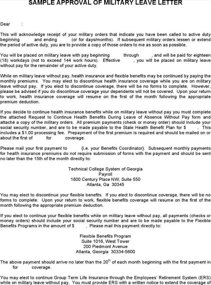 Military Leave Letter Template Page 1
