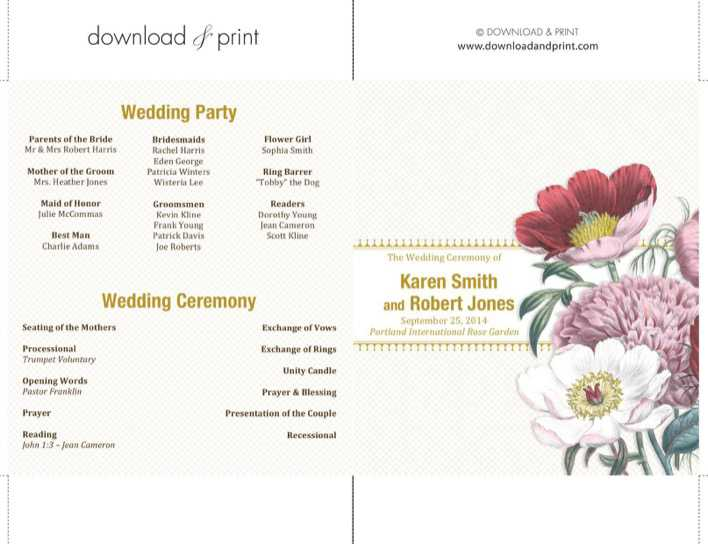 Modern Double Sided Ceremony Wedding Programs Download Page 1