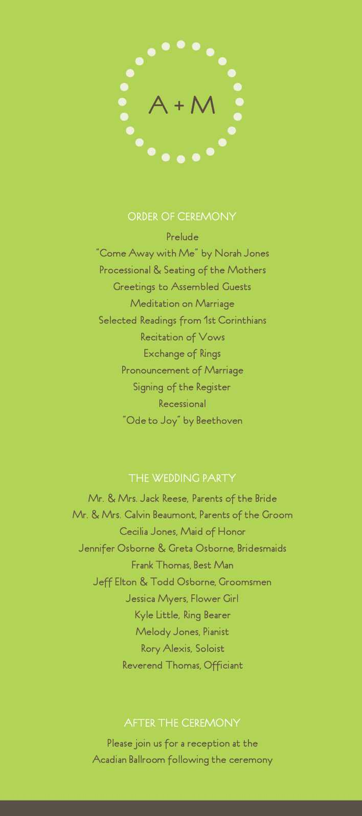 Free Modern Green Wedding Program Template Online Editable Page 1