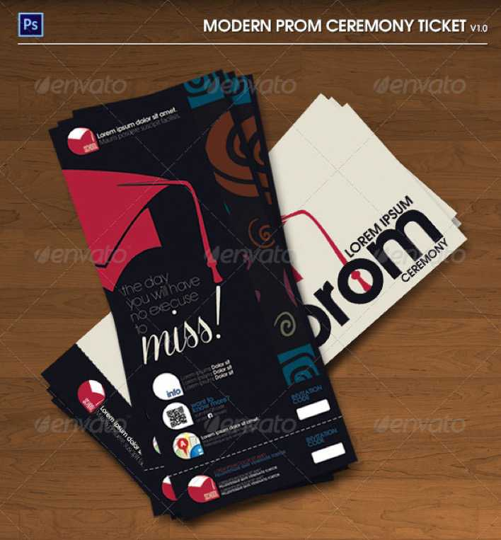 Modern Prom Ceremony PSD Ticket Page 1