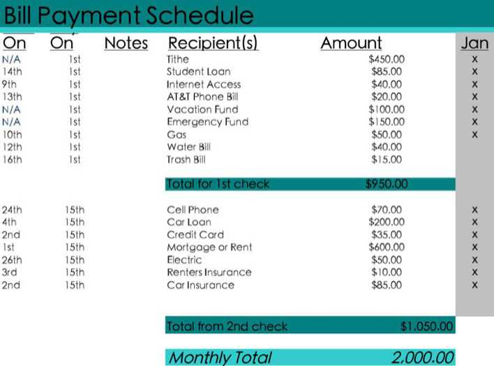 Download Monthly Bill Payment Schedule Excel Template Excel Download