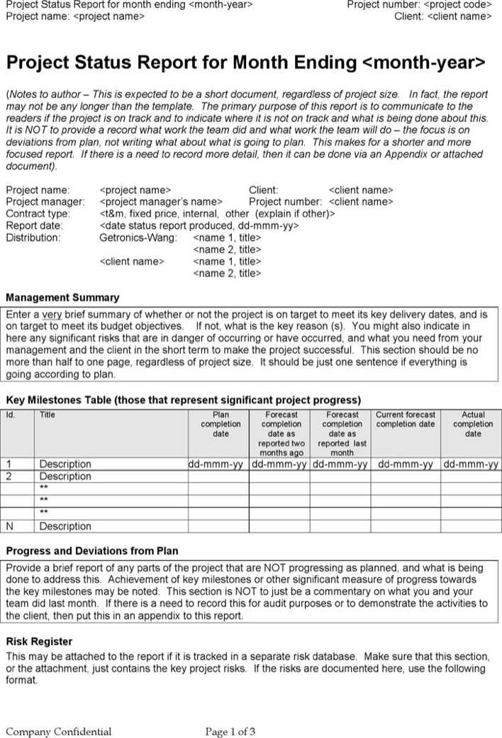 Download Monthly Project Status Report Template For Free Tidytemplates