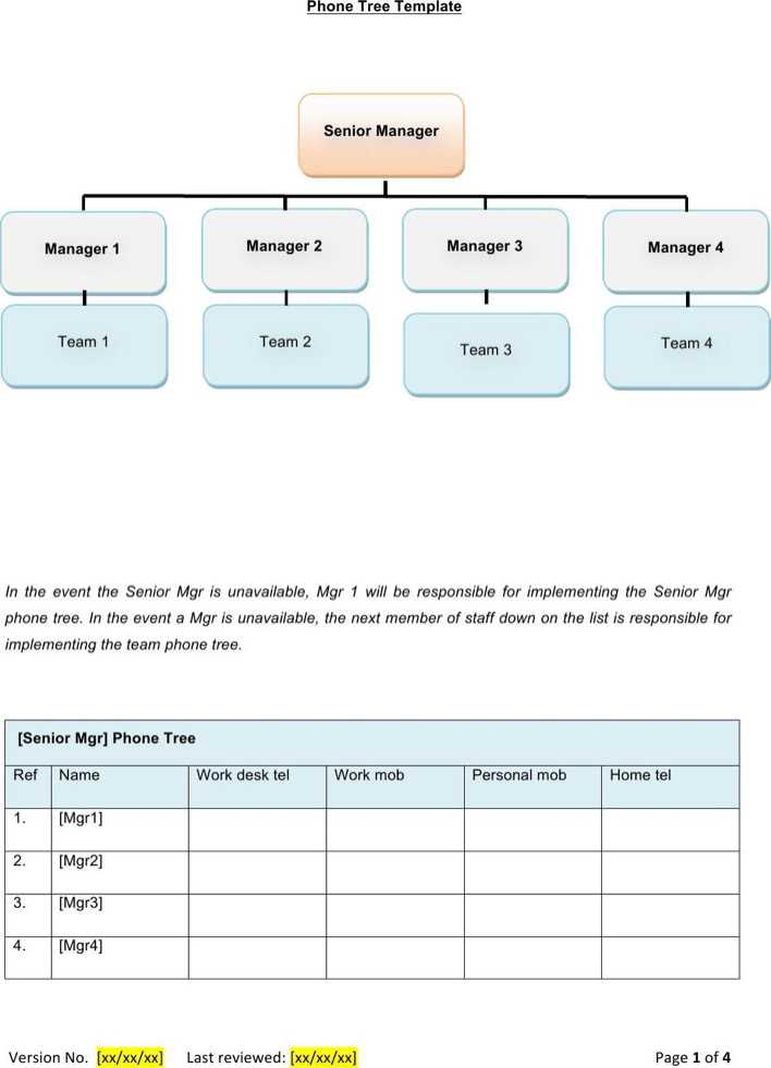 MS Word Phone Tree Template Free Download Page 1