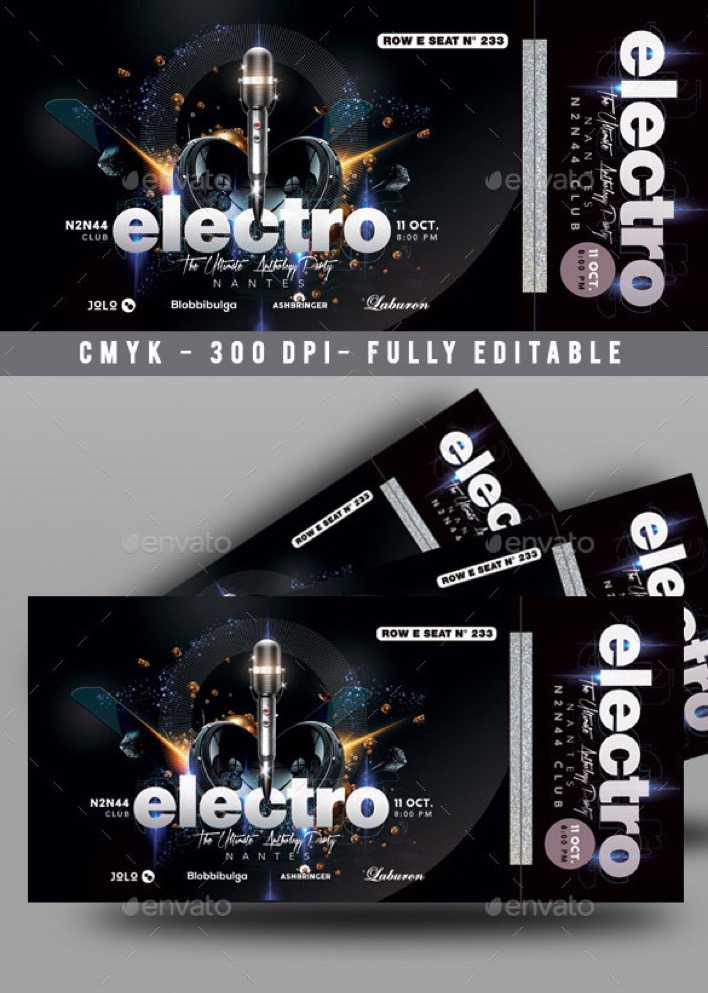 Music Concert Ticket Template PSD Page 1