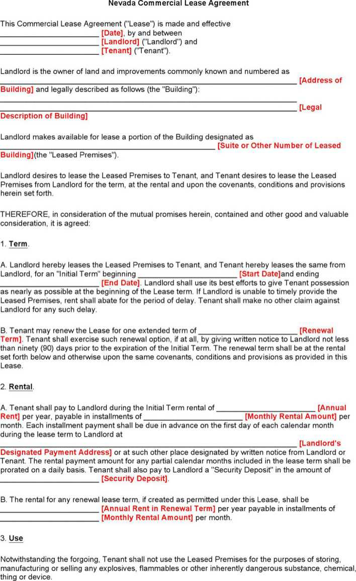 download nevada commercial lease agreement form for free tidytemplates