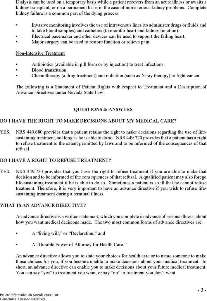 Sample Do Not Resuscitate Form | Download Nevada Do Not Resuscitate Form 2 For Free Page 3