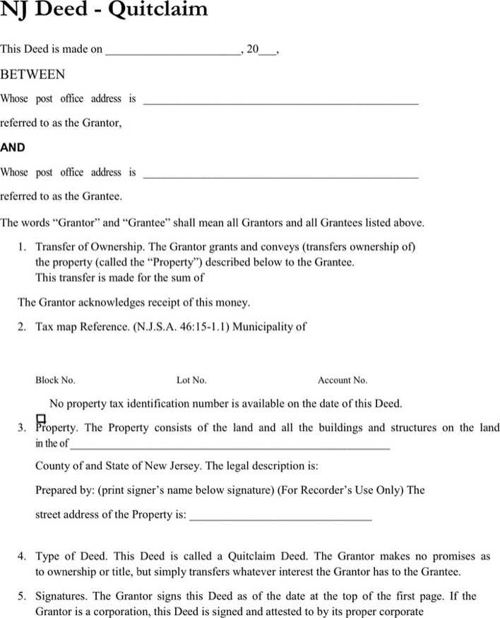 Download New Jersey Quitclaim Deed Form 1 For Free