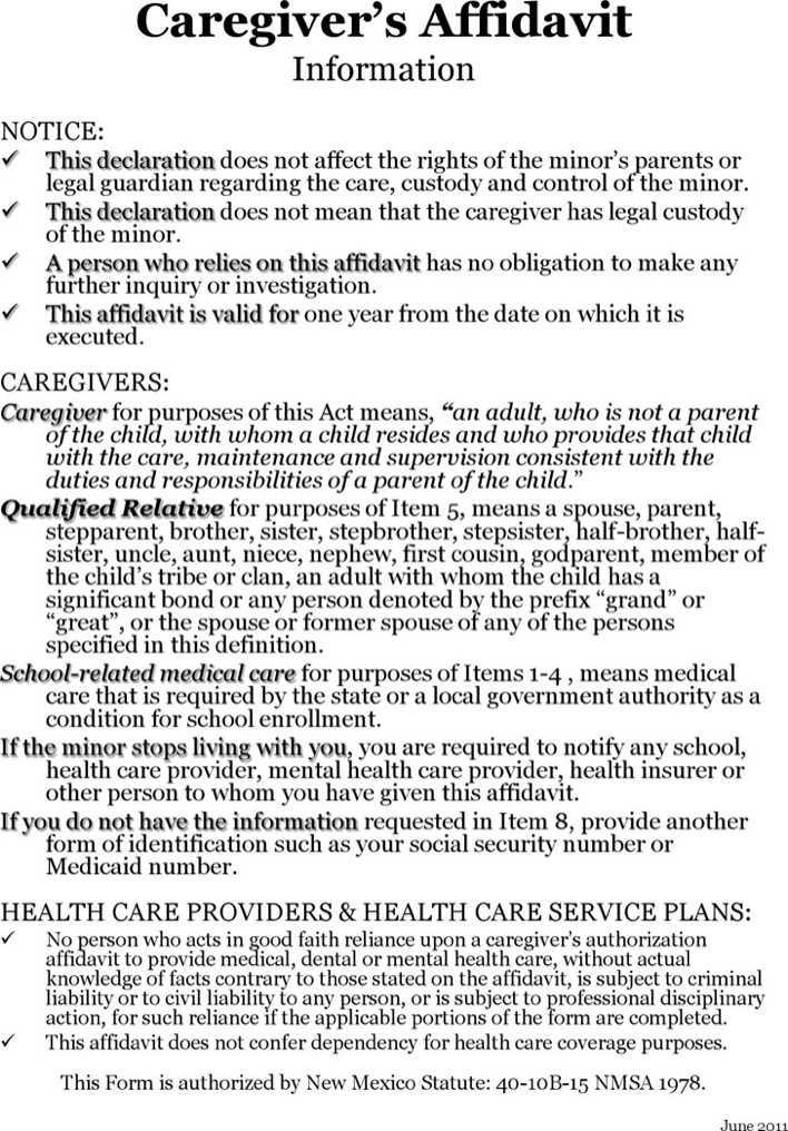 new-mexico-caregivers-authorization-affidavit-form-1 Basic Rental Application Blank Form on