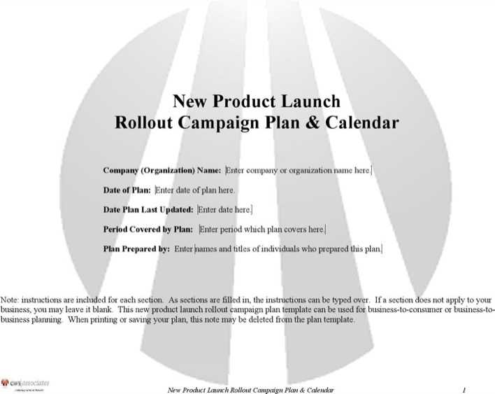 Download new product launch plan template for free for Campaign literature templates