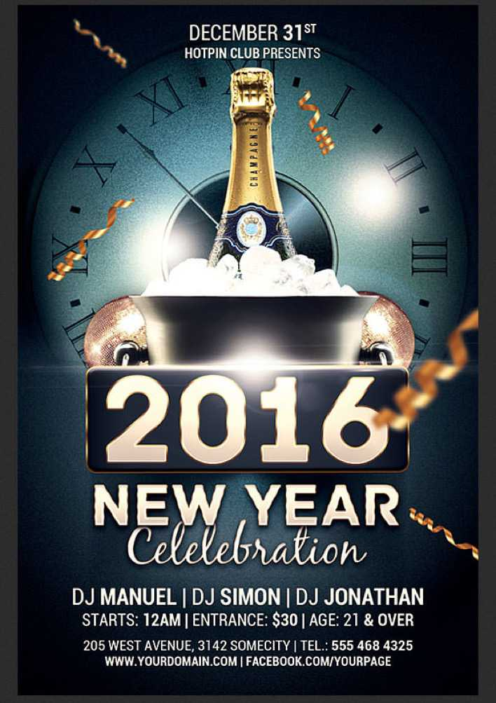 New Year Celebration Flyer Template Photoshop PSD Download Page 1