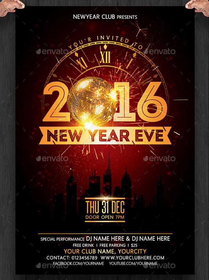 New Year Eve Flyer Invitation Template PSD Download Page 1