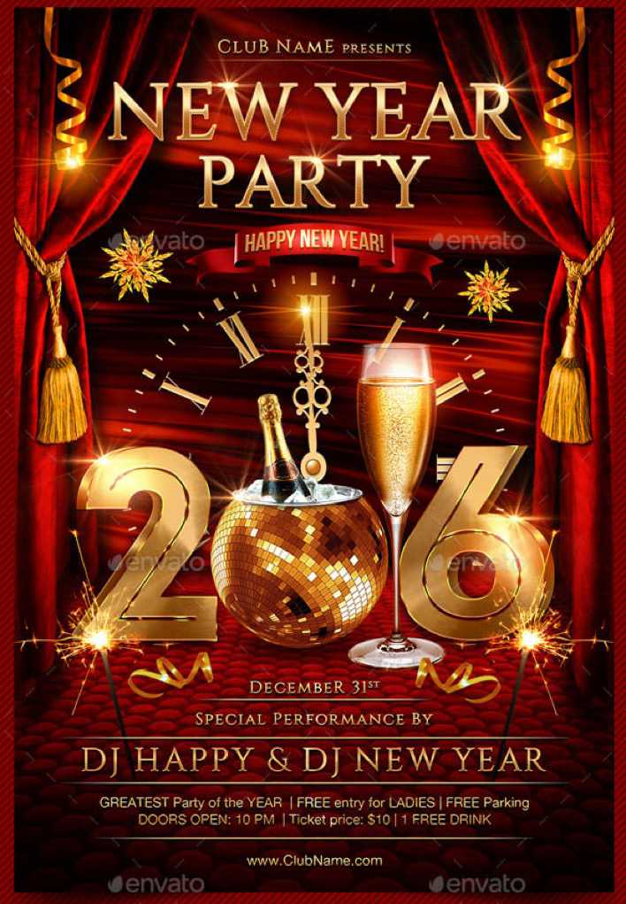 New Year Party Flyer Template Photoshop PSD Page 1