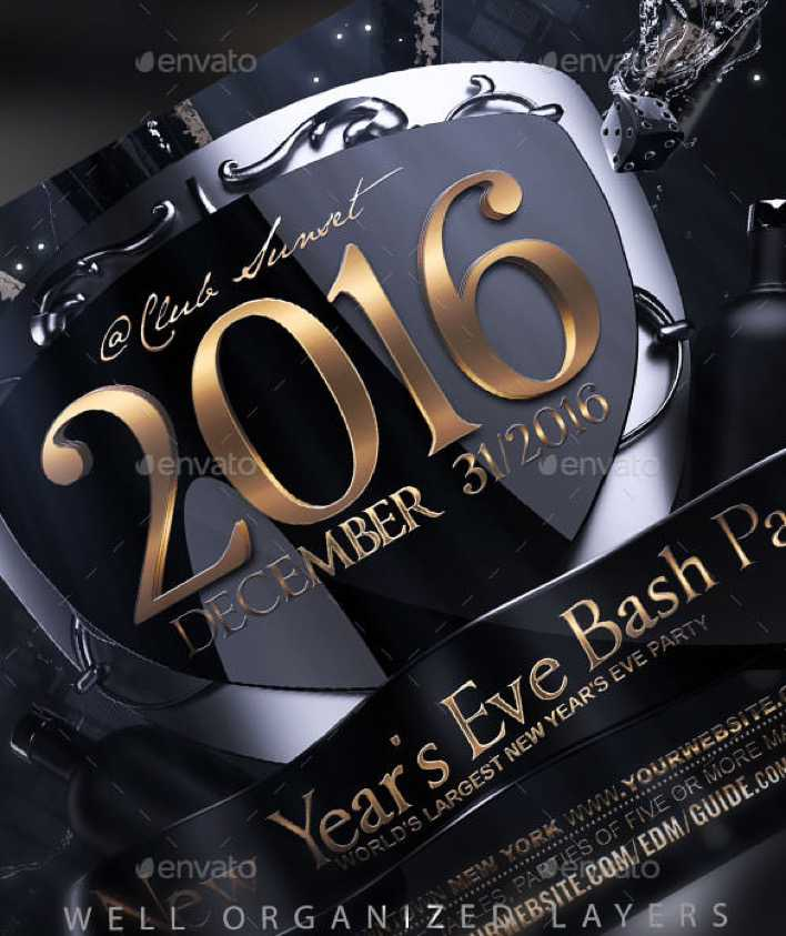 New Years Eve Flyer Template PSD Download Page 1