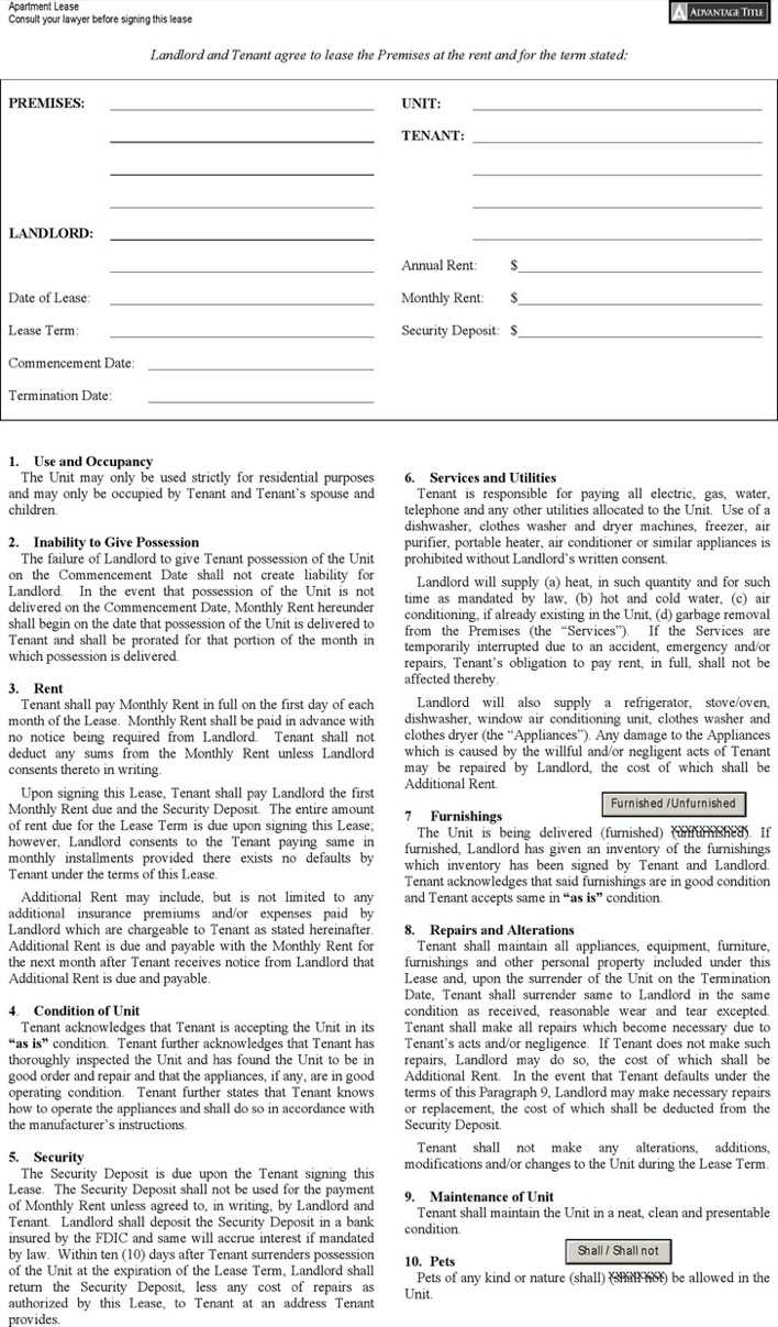 Download New York Apartment Lease Agreement Form For Free