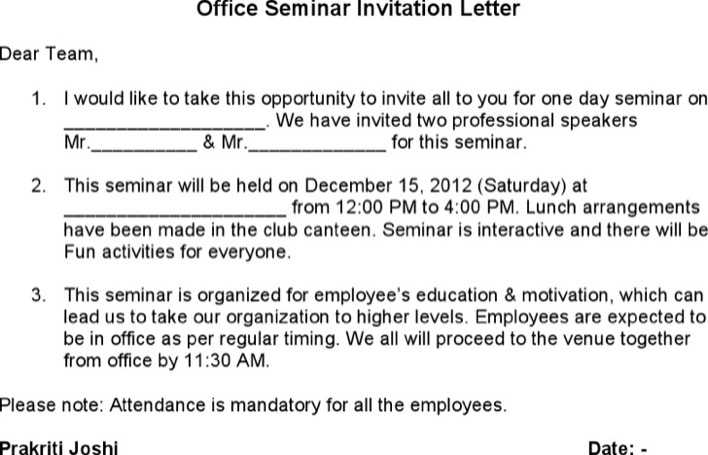 Download office seminar invitation letter for free tidytemplates office seminar invitation letter page 1 stopboris Choice Image