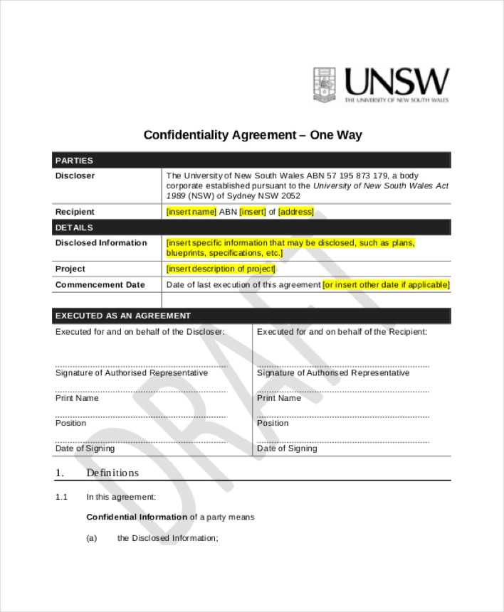 Download One Way Generic Confidentiality Agreement For Free