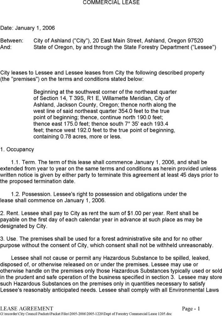 Download Oregon Commercial Lease Agreement Sample For Free