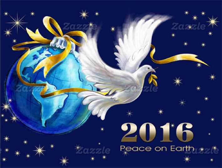 Peace on Earth New Year 2016 Greeting Card Page 1