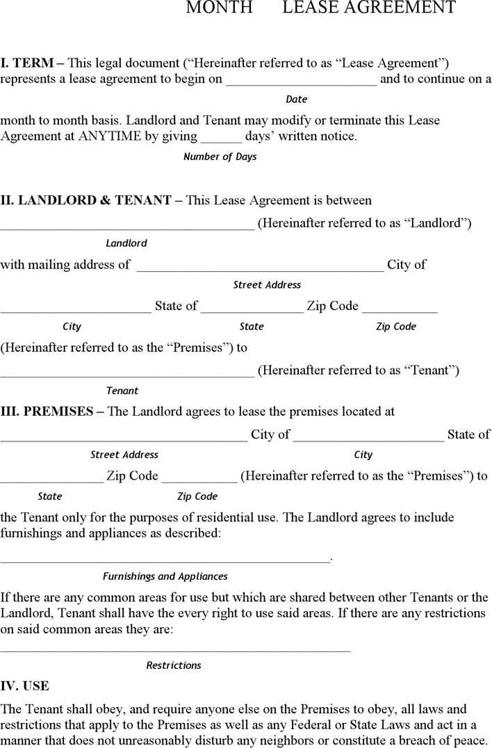 Download Pennsylvania Month To Month Rental Agreement For Free
